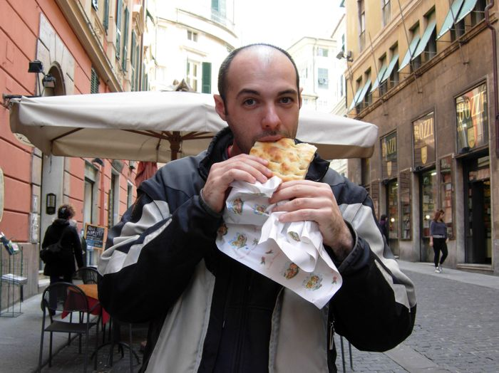 Eating focaccia in Genova, March 2011