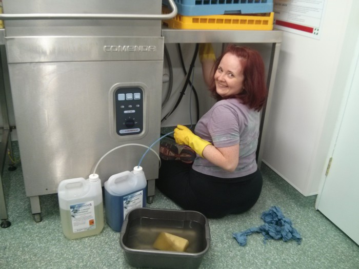 Laura cleaning dishwasher